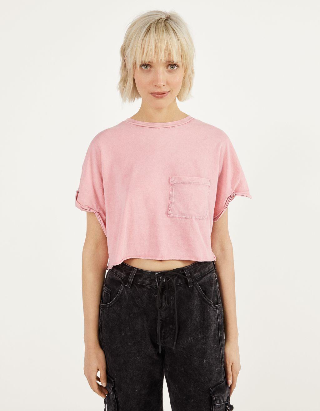 Trumpi marškinėliai su kišene