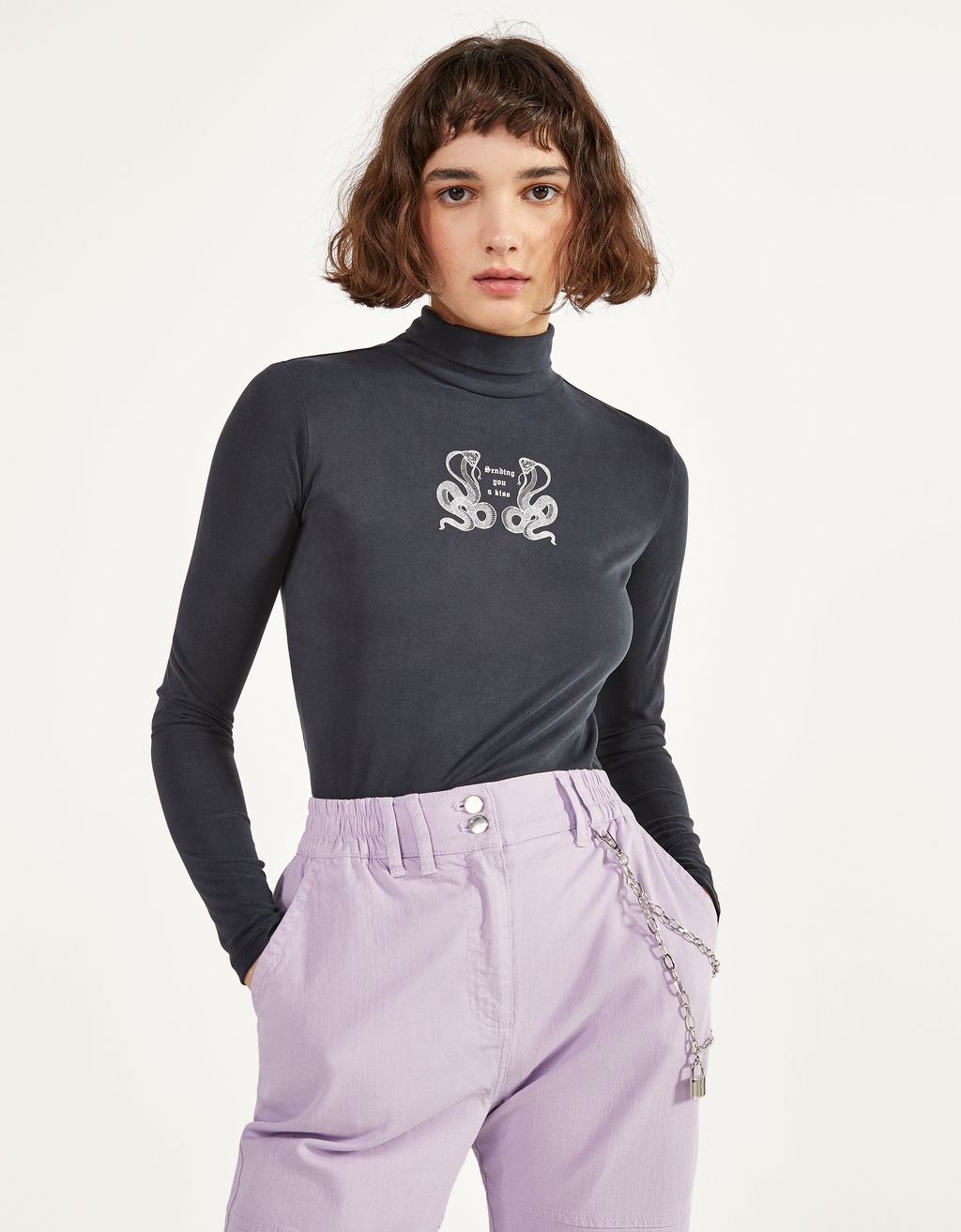 Turtleneck T-shirt with print