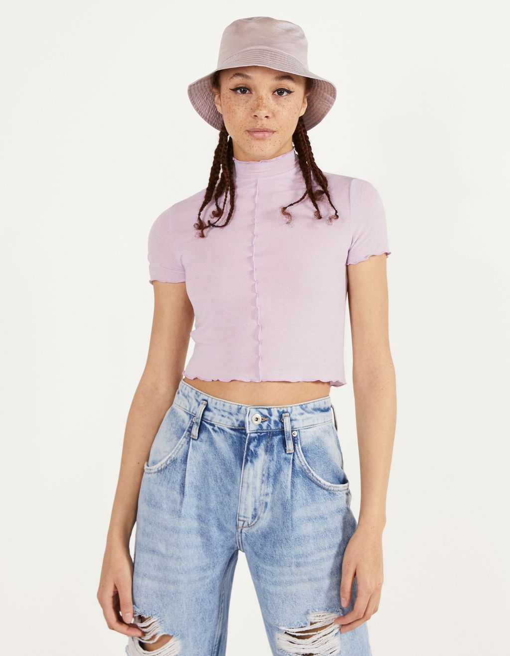 Scalloped short sleeve T-shirt