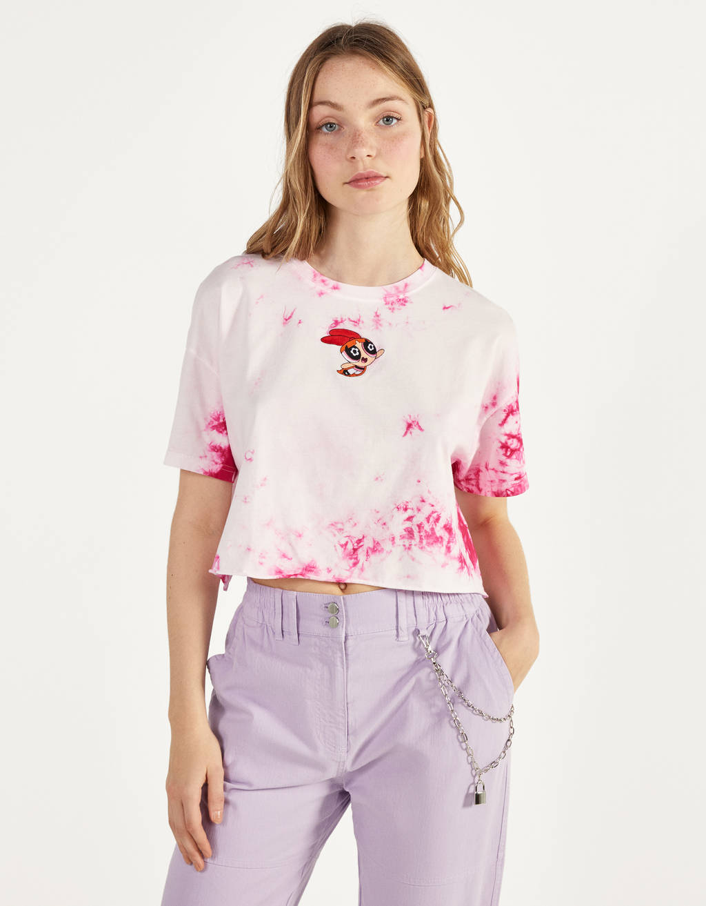 T-shirt com tie-dye As Powerpuff Girls x Bershka