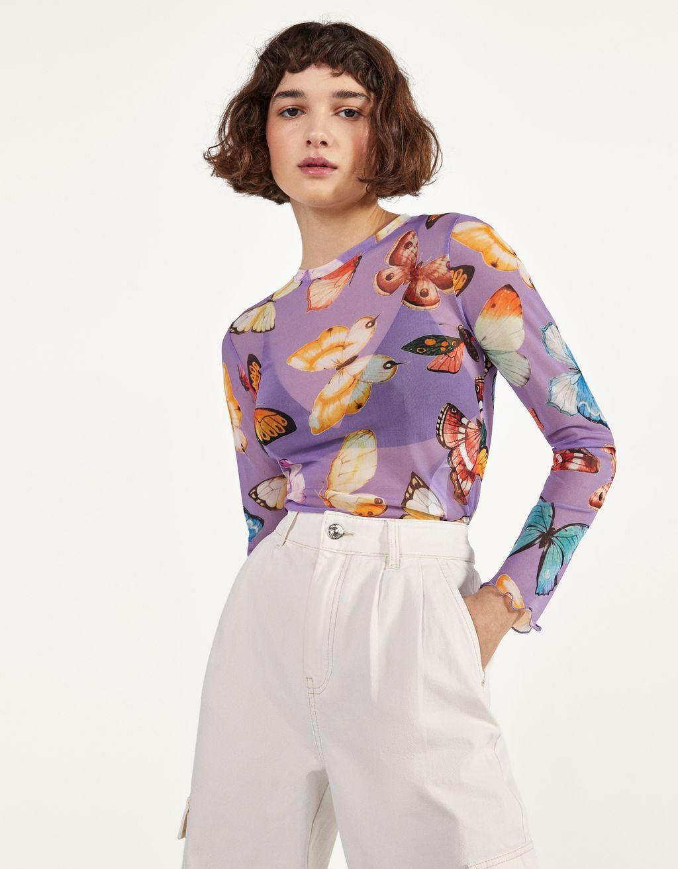 Τούλινη μπλούζα εμπριμέ