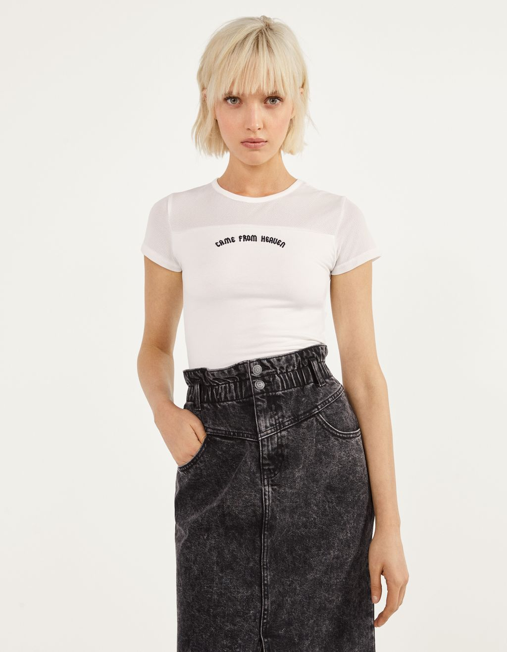 T-shirt with tulle and embroidered details