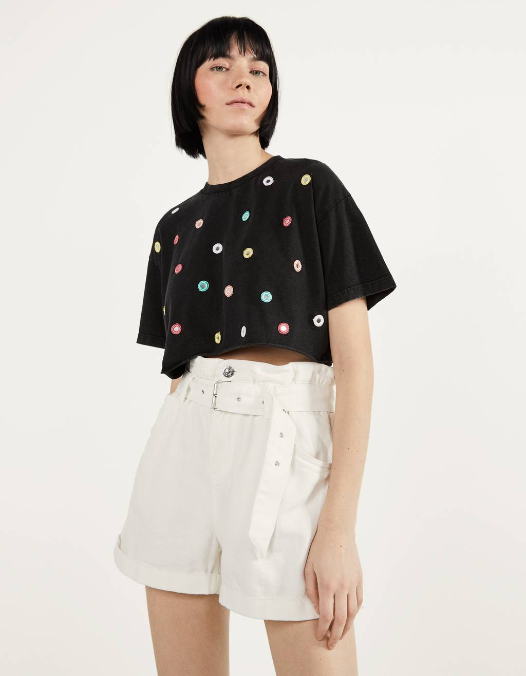 Cropped T-shirt with mirror details