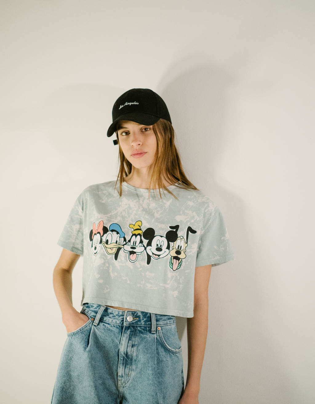 Acid wash Mickey baskılı t-shirt