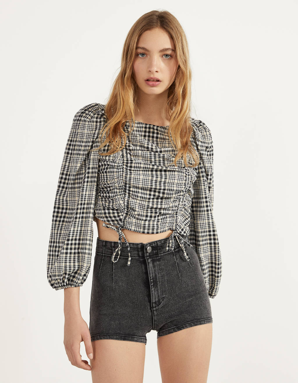 High waist denim skorts