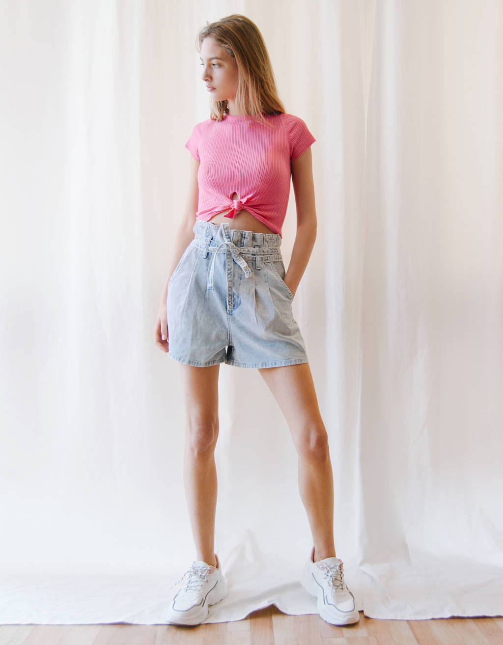 Denim paperbag shorts with belt