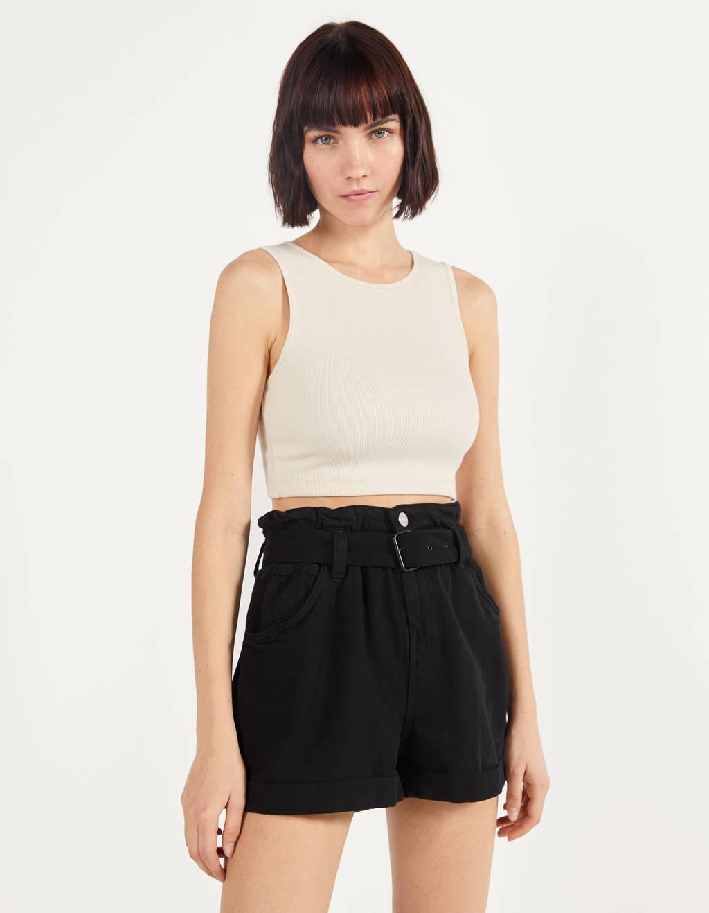 Belted paperbag shorts