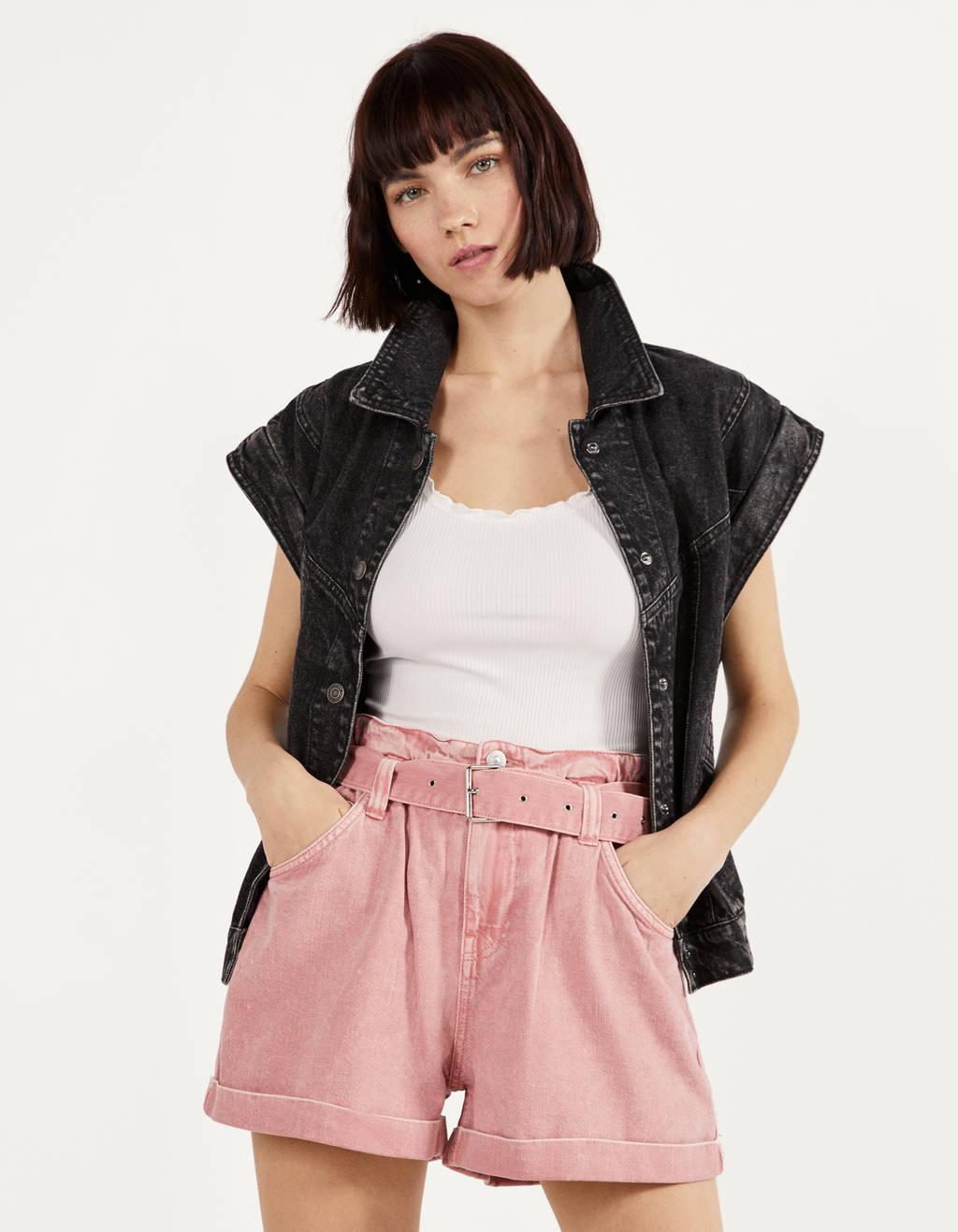 Pantalons curts paperbag amb cinturó