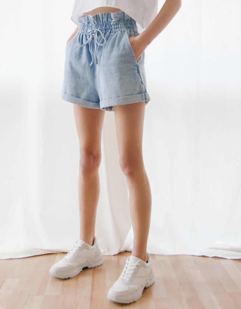 Denim paperbag short met strik