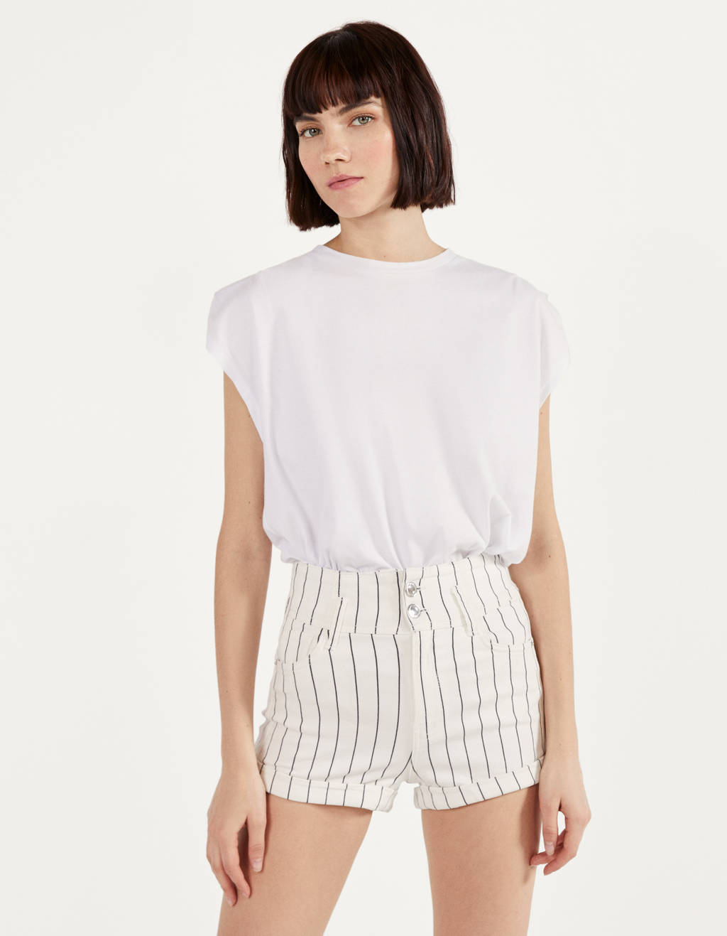 High Waist shorts with turn-up hems