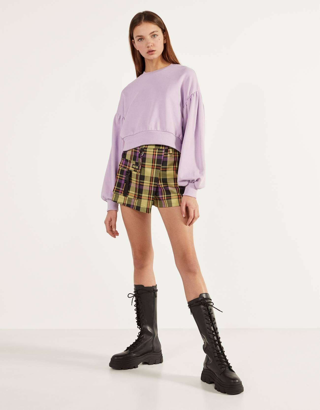 Базовая юбка-шорты Зеленый Bershka