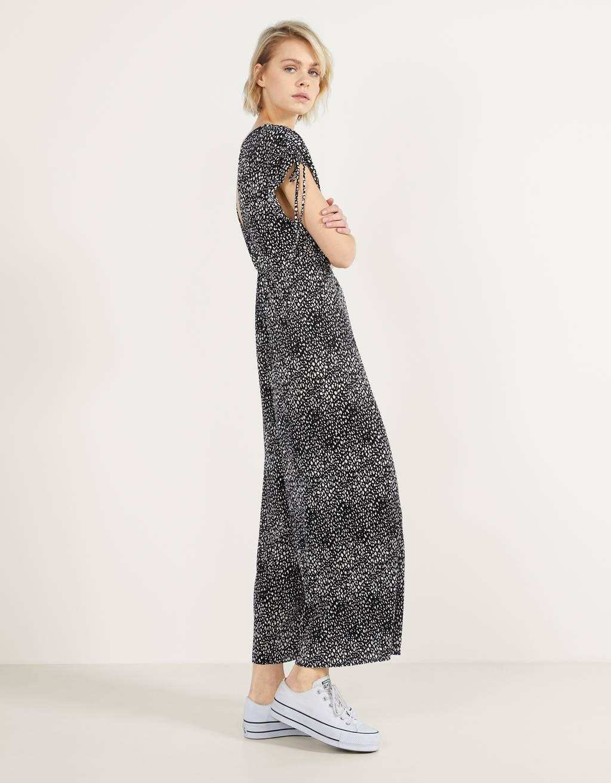 Pleated printed jumpsuit