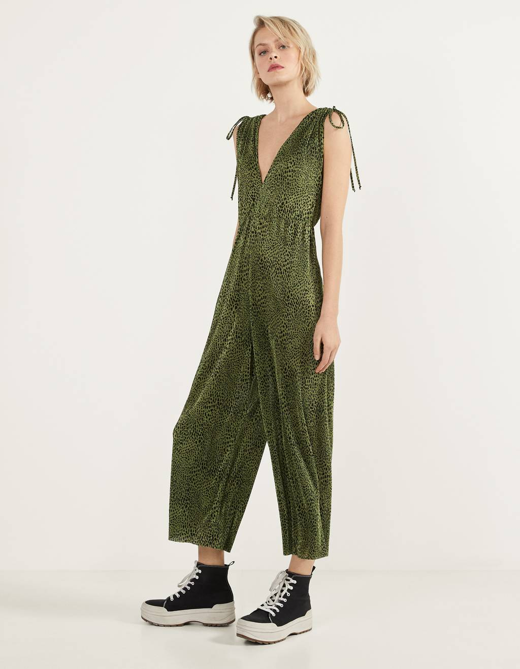 Pleated printed jumpsuit