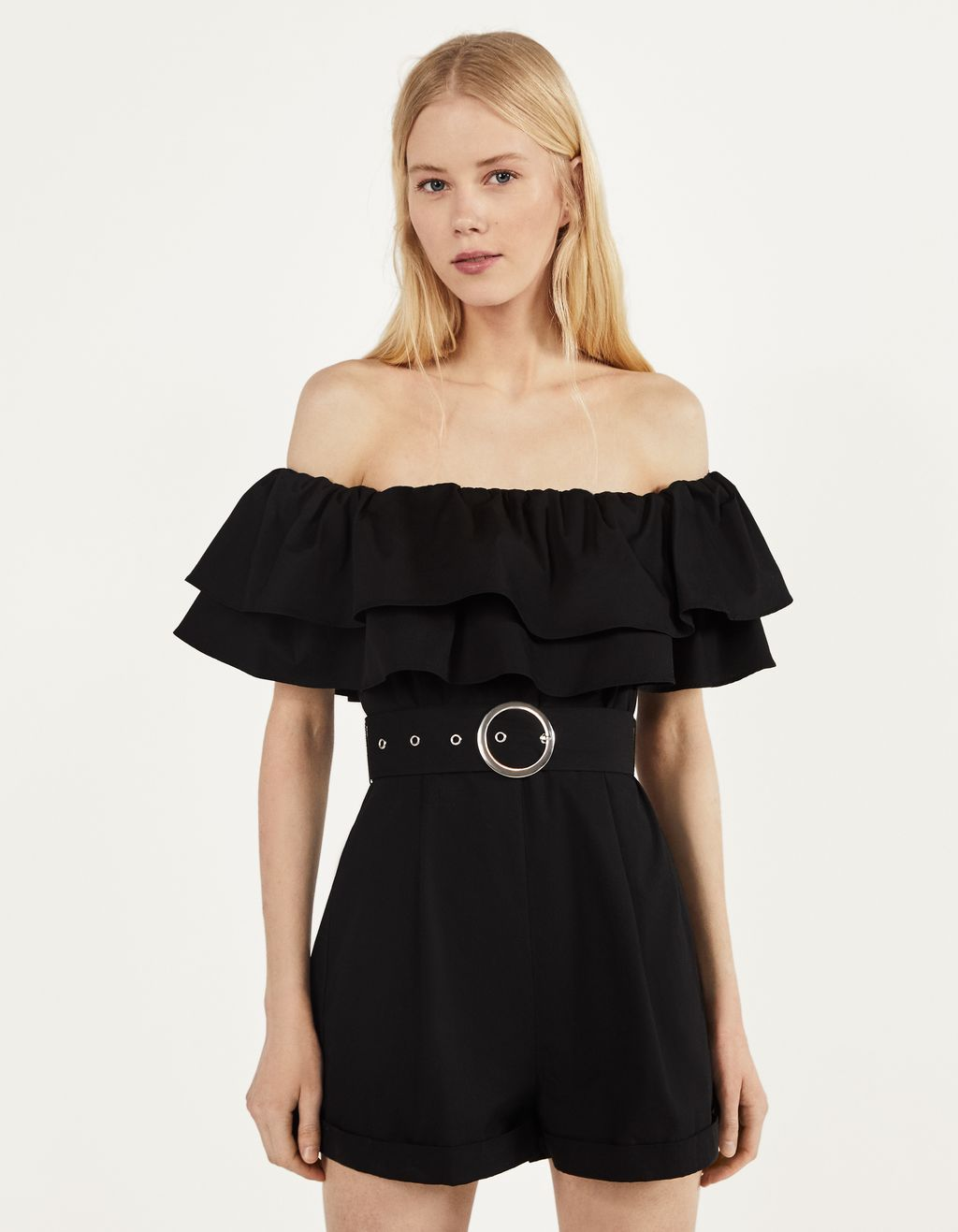 Ruffled poplin playsuit