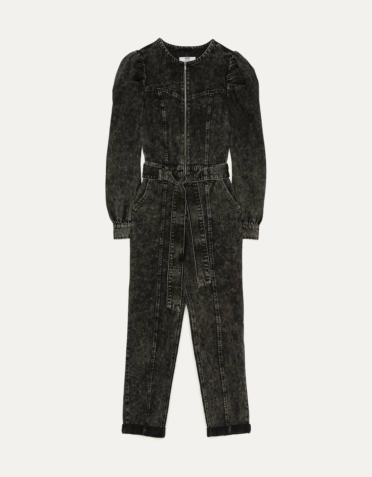 Длинный джинсовый комбинезон с объемными рукавами Серый Bershka