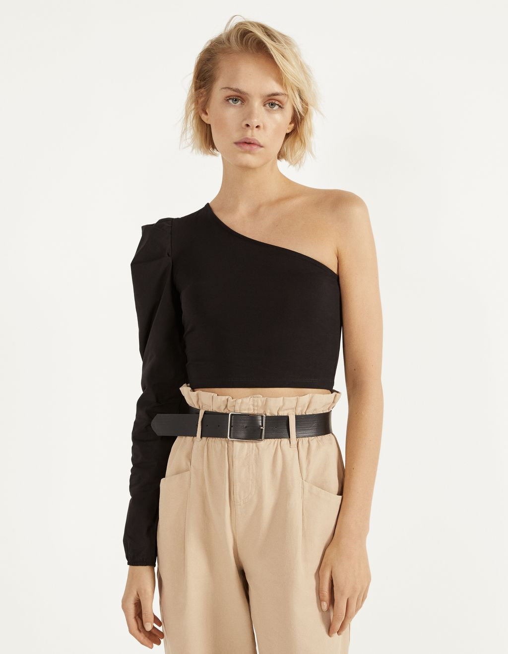 Asymmetric top with poplin sleeves