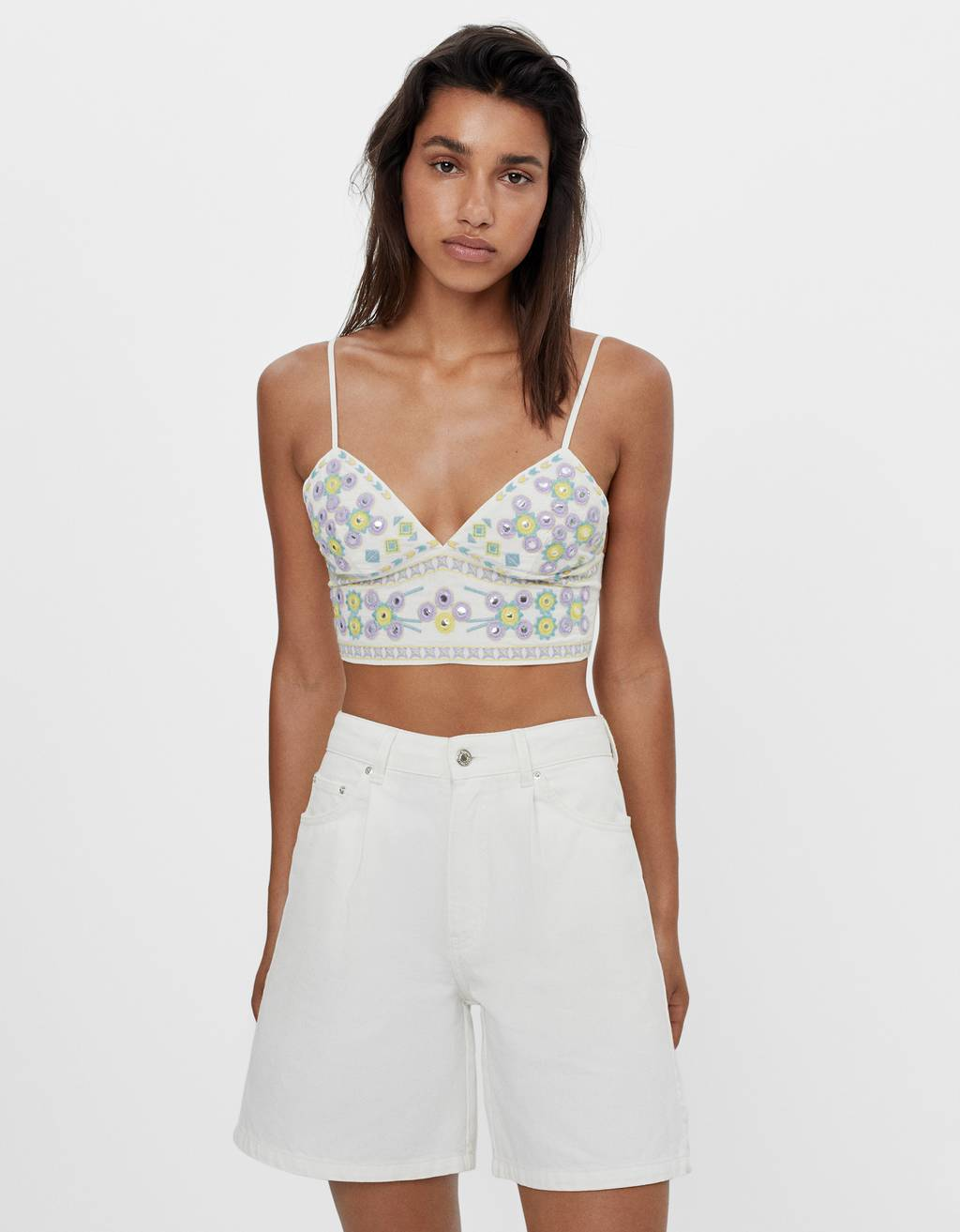 Embroidered bralette with mirrored sequins