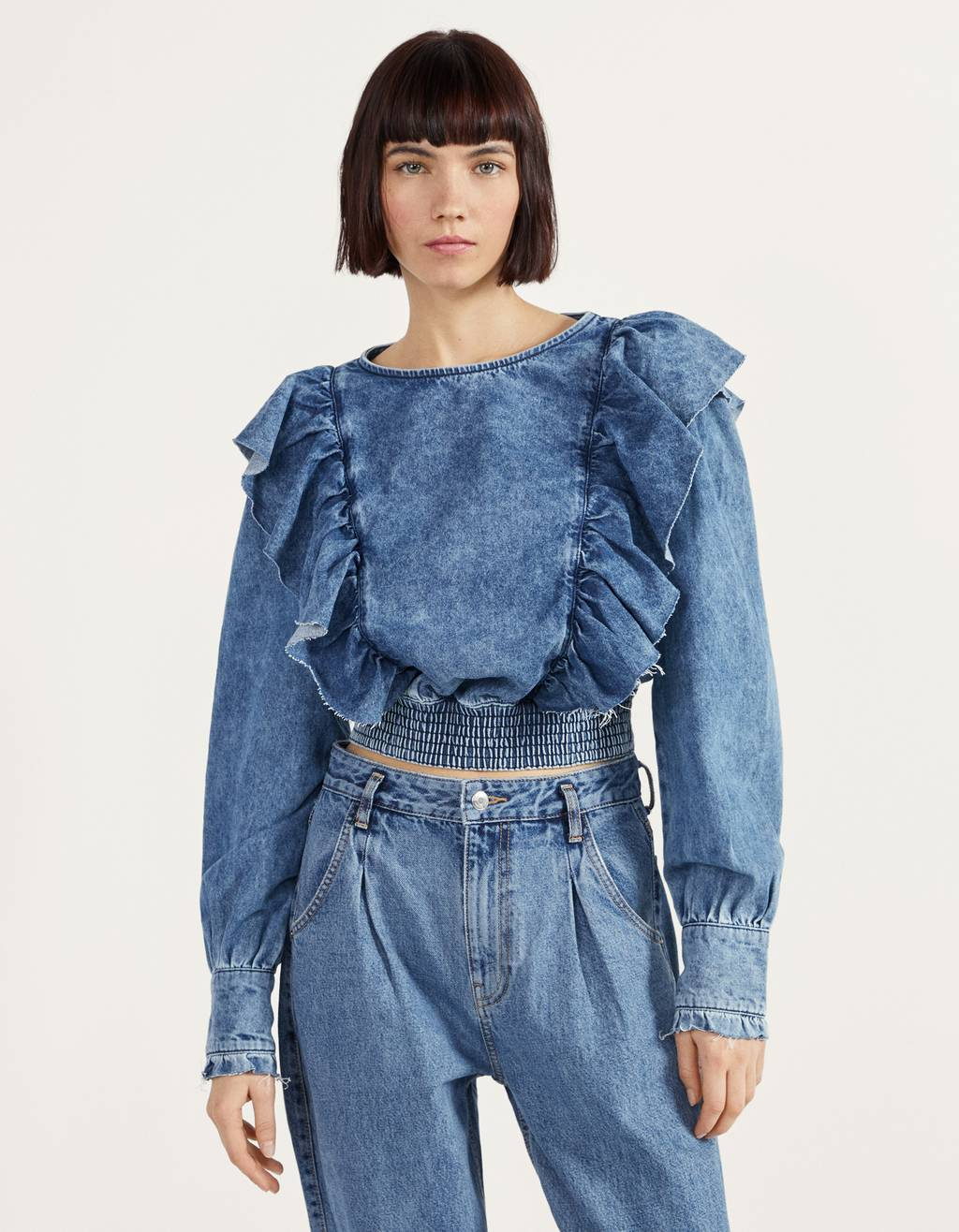 Denim blouse met ruches