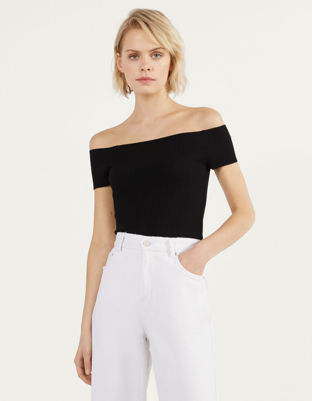 Off-shoulder t-shirt