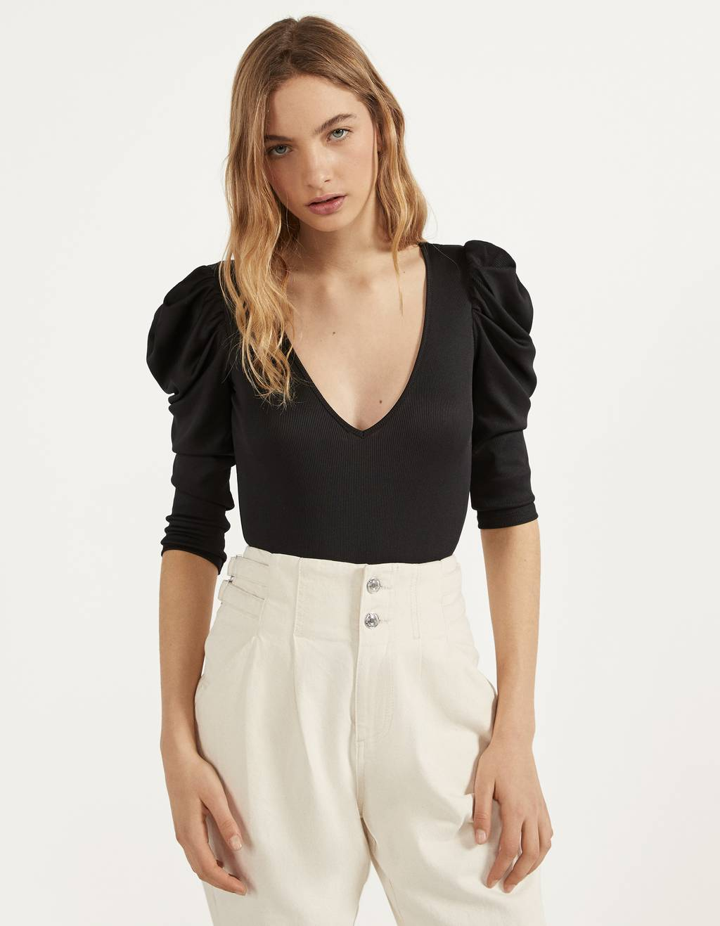 Bodysuit with long full sleeves