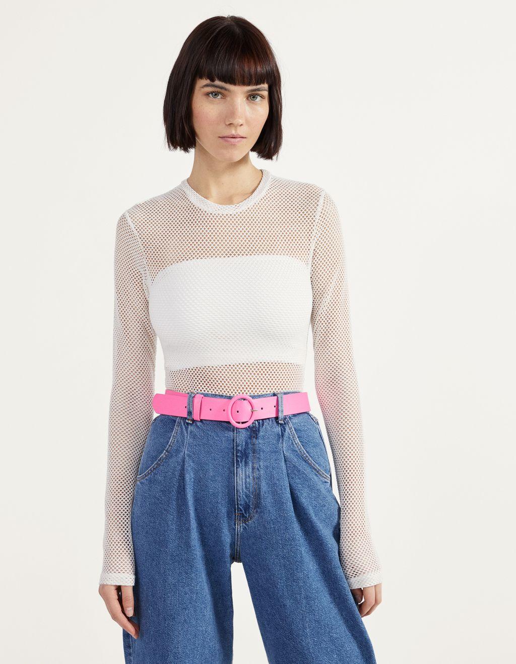 Mesh bodysuit with long sleeves