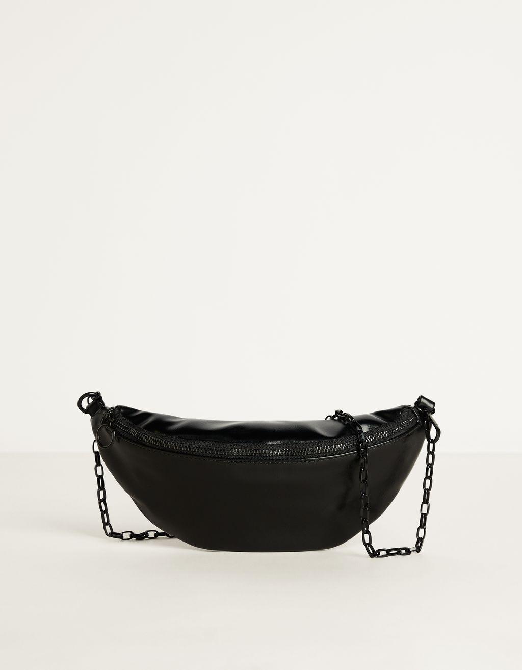 Bolsa de cintura com efeito pele
