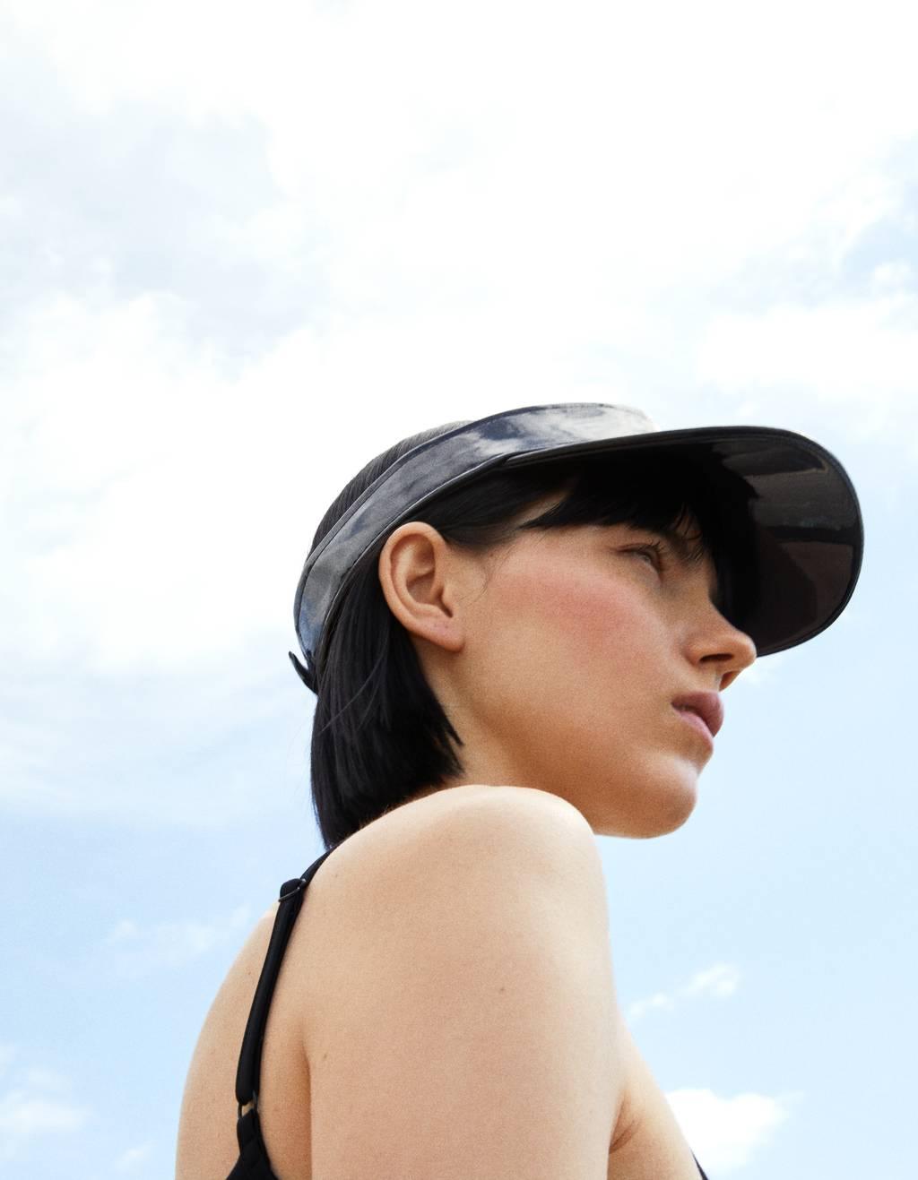 Faux patent visor cap