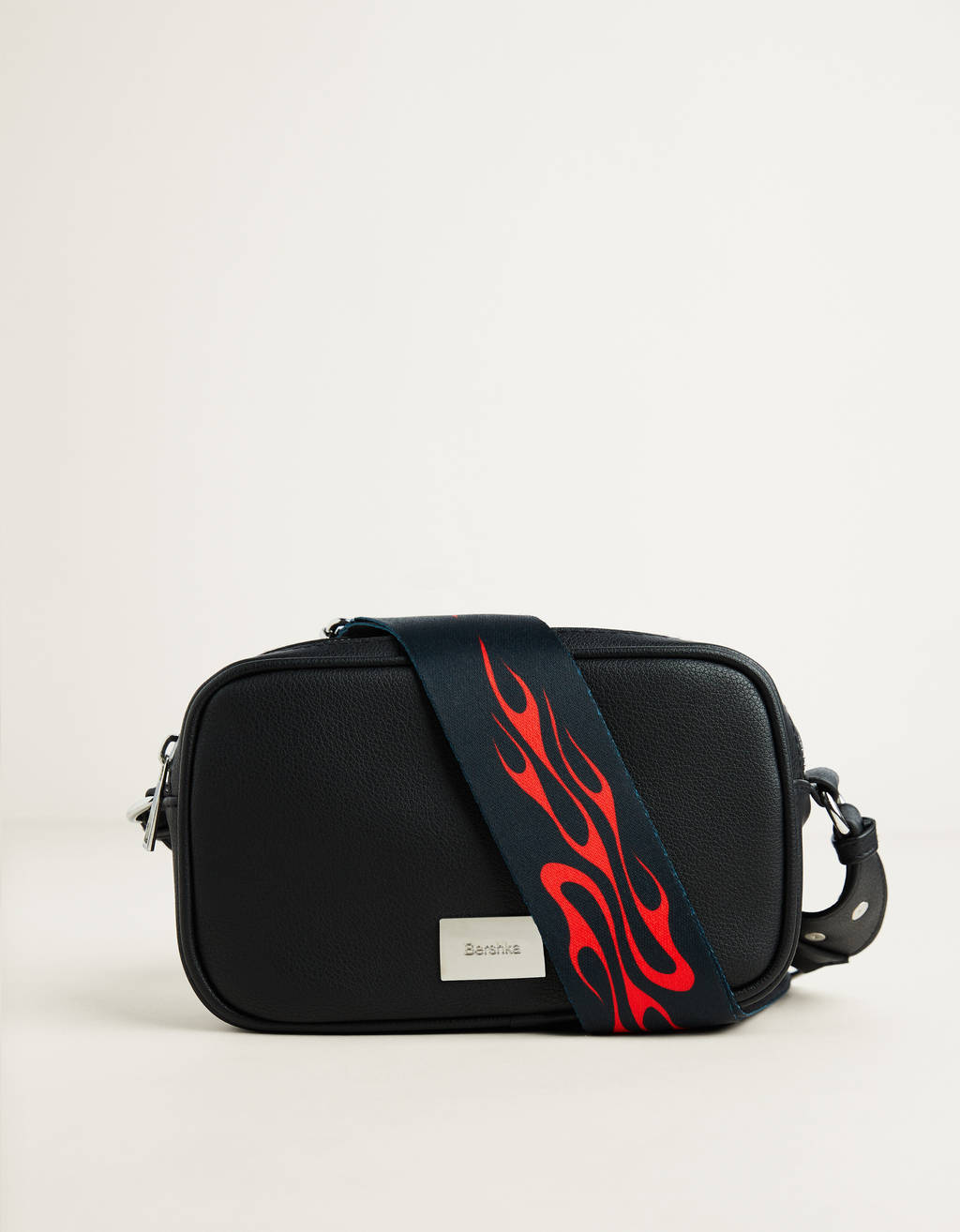 Crossbody bag with flame print