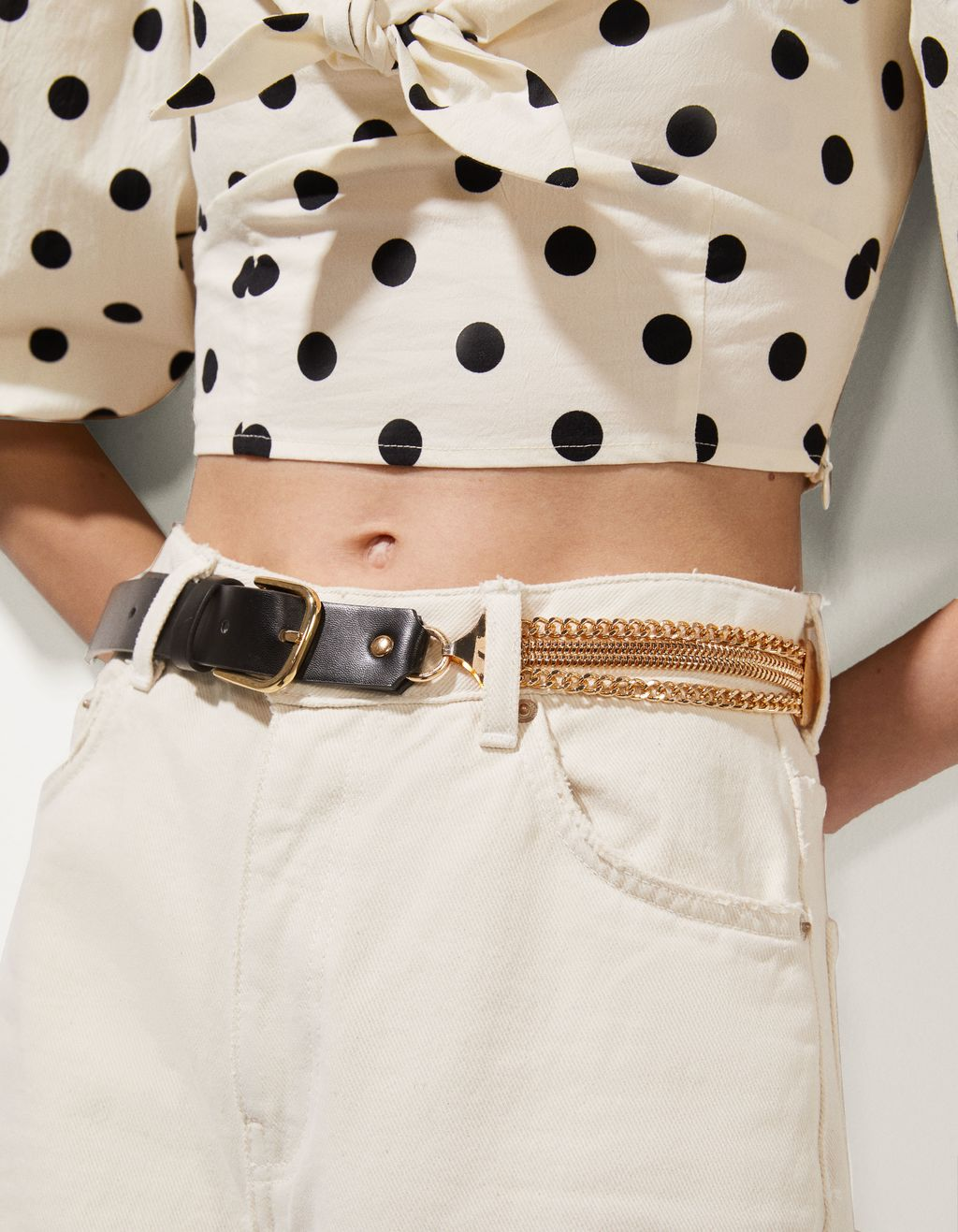 Faux leather belt with chain