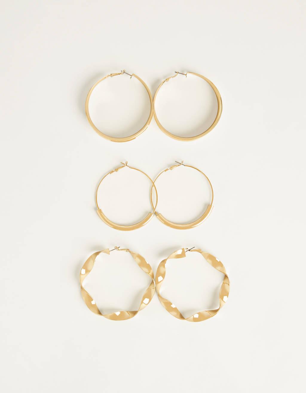 Set of maxi hoop earrings