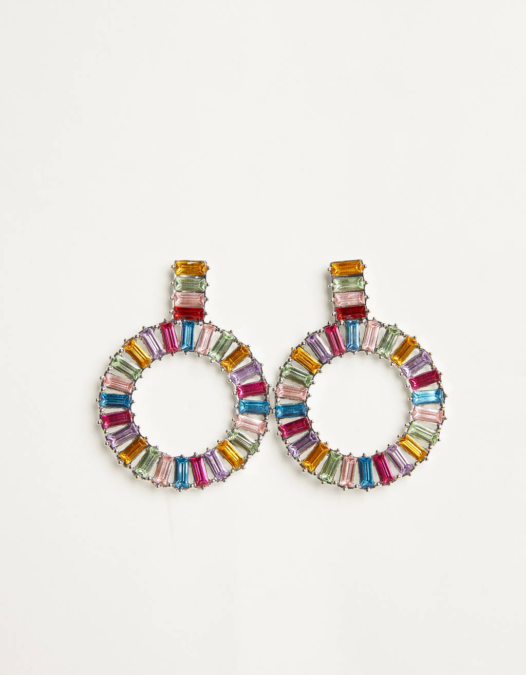Multicoloured diamanté hoop earrings