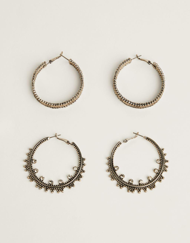 Set of boho hoop earrings