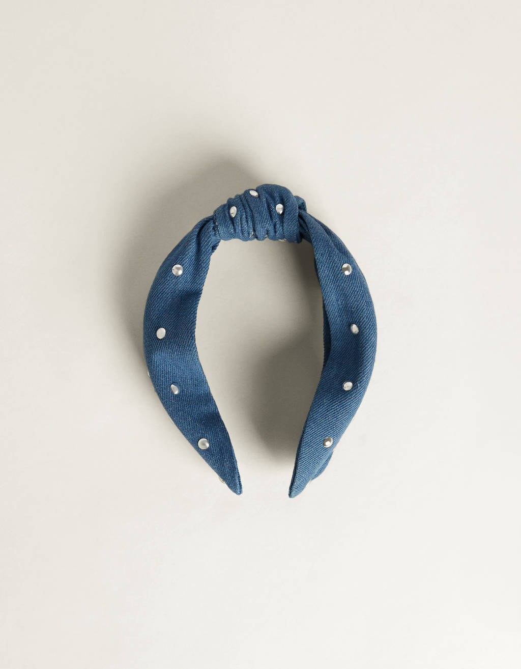Denim headband with faux pearl details