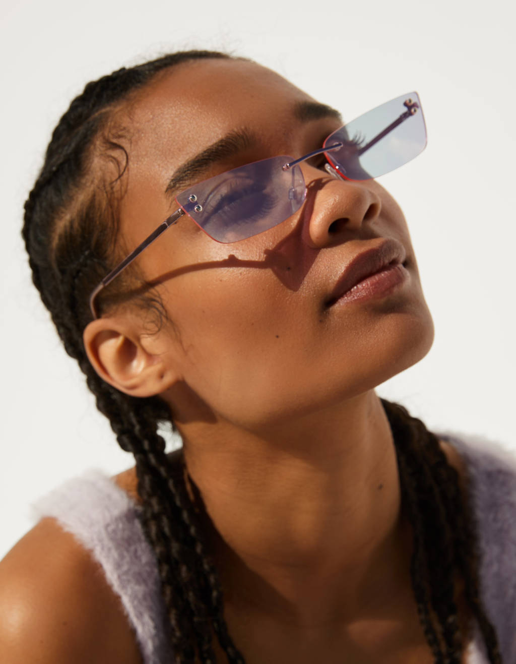 Rectangular sunglasses with mirrored lenses