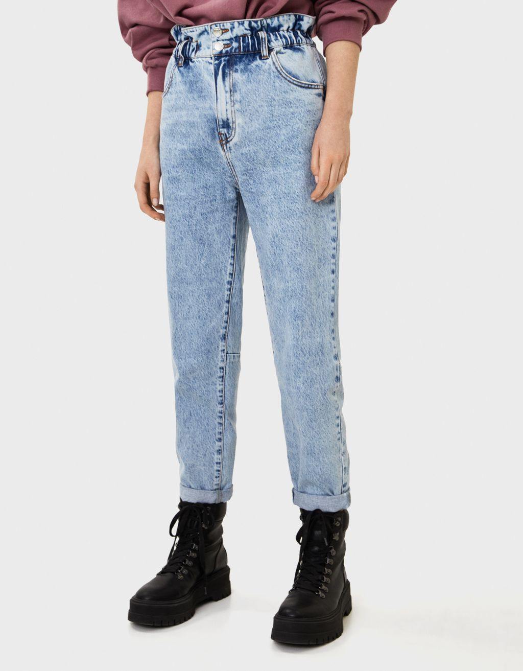 Balloon fit paperbag jeans