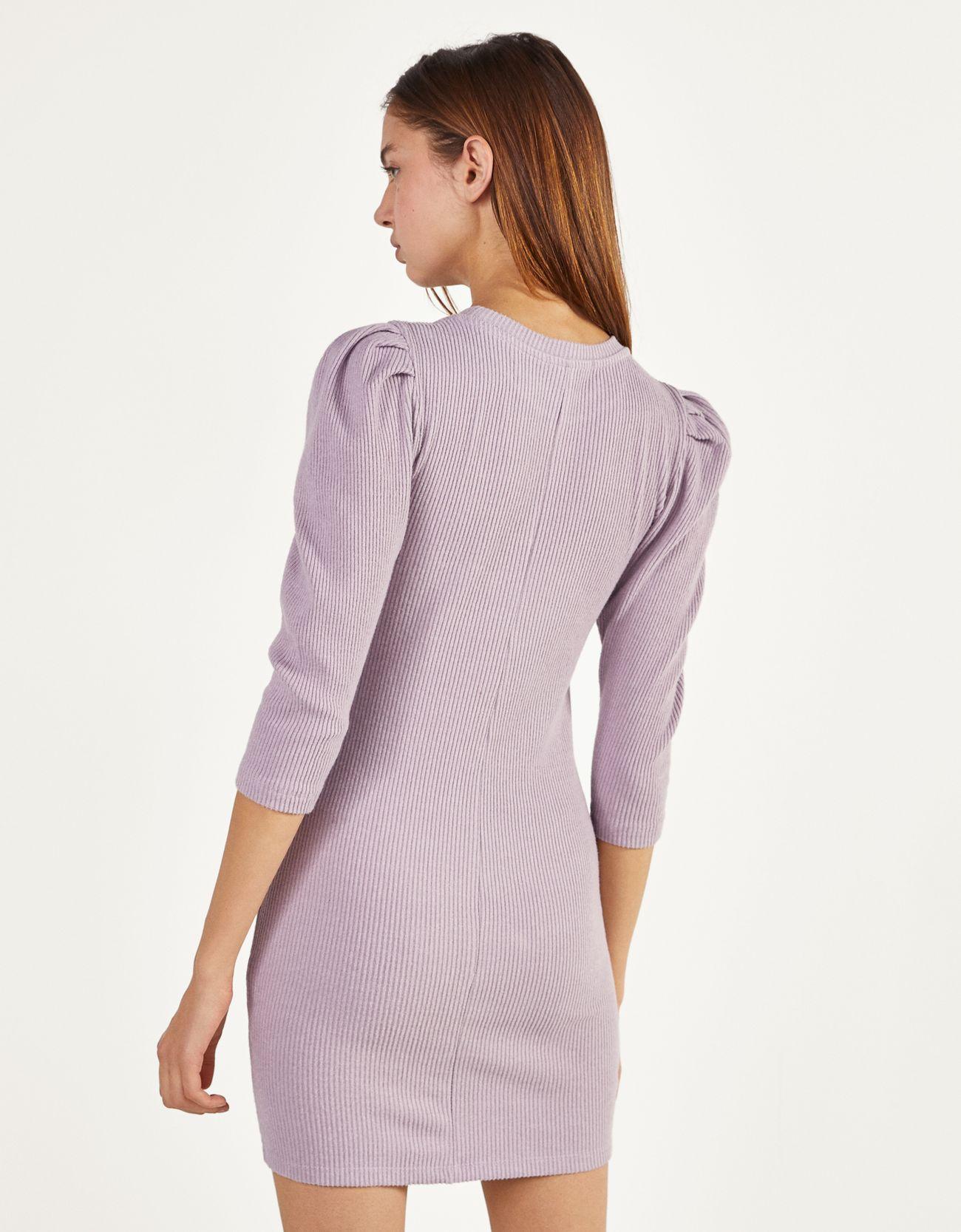 Платье с рукавами-фонариками Фиолетовый Bershka