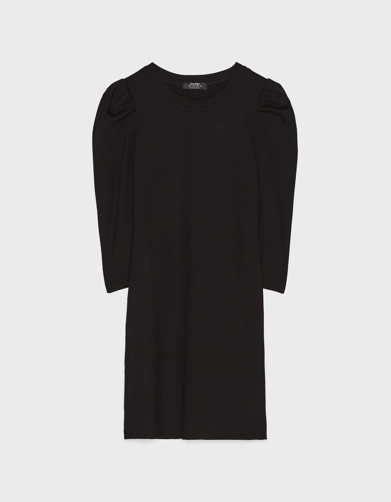 Платье с рукавами-фонариками Черный Bershka