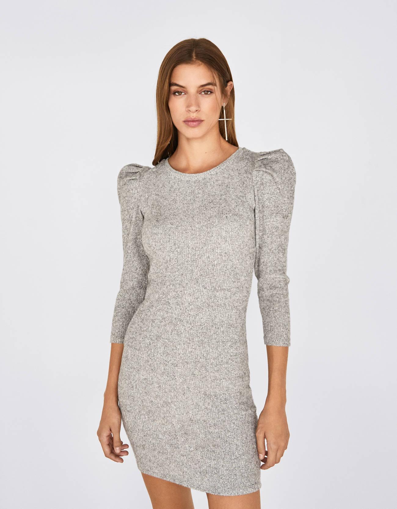 Платье с рукавами-фонариками Серый Bershka