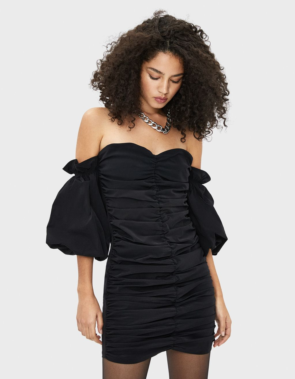 Off-the-shoulder dress with gathering