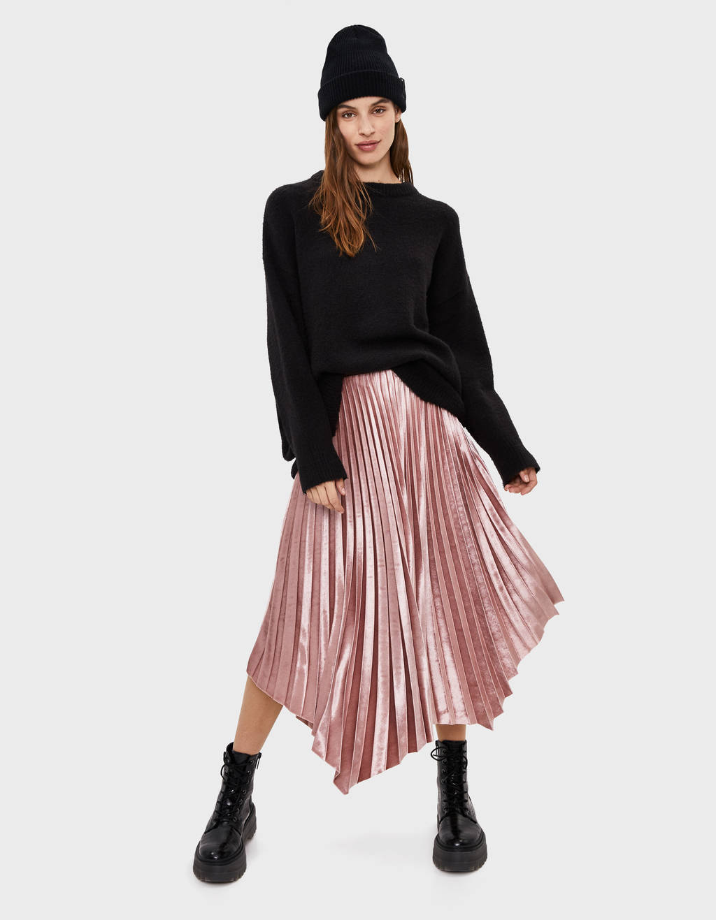 Pleated velvet skirt