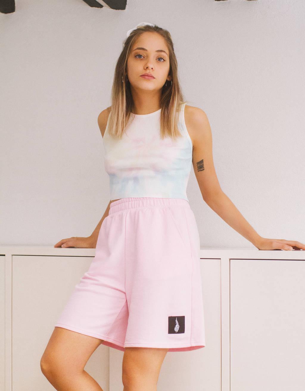 Plush Bermuda shorts with print