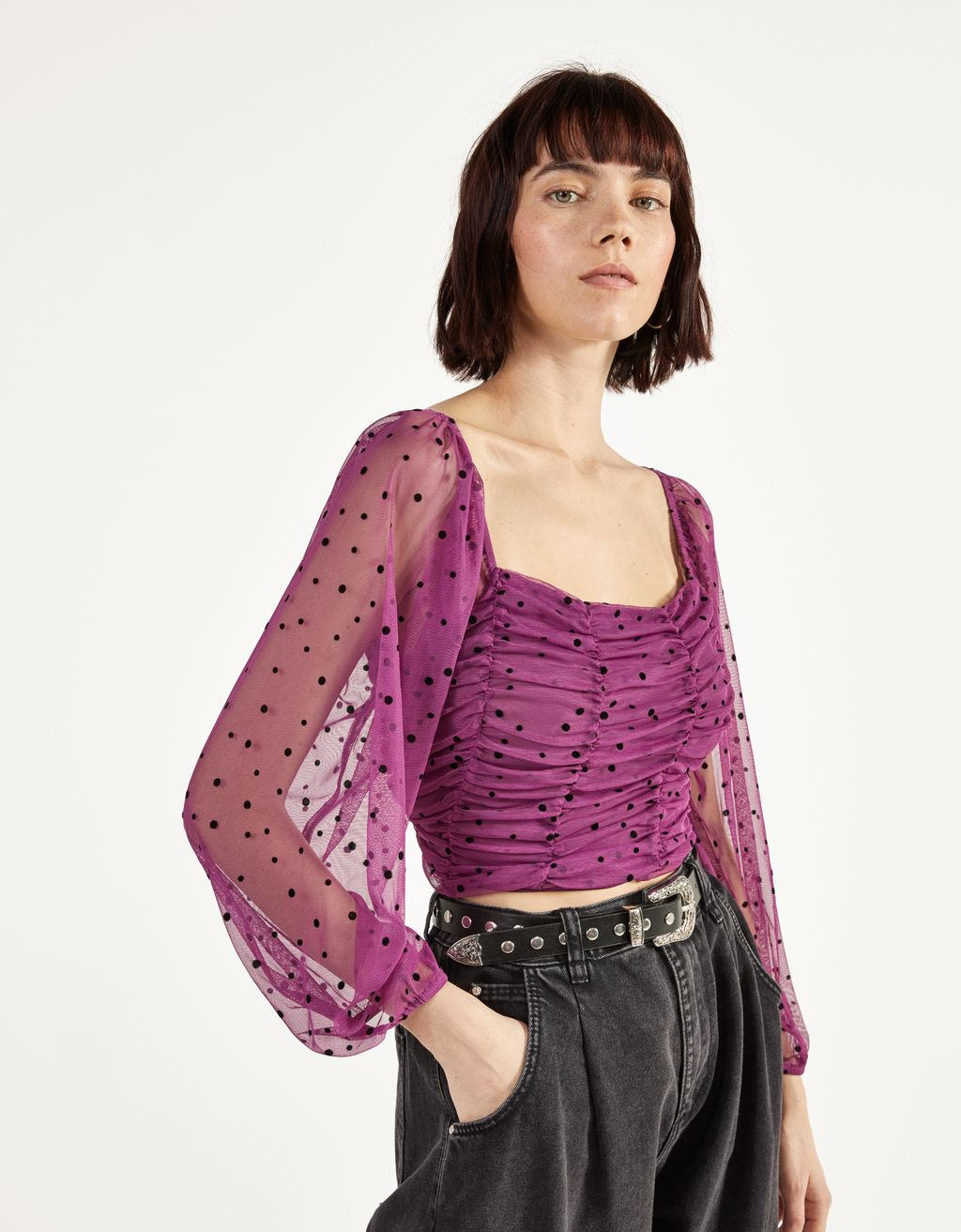 Gathered dotted mesh blouse