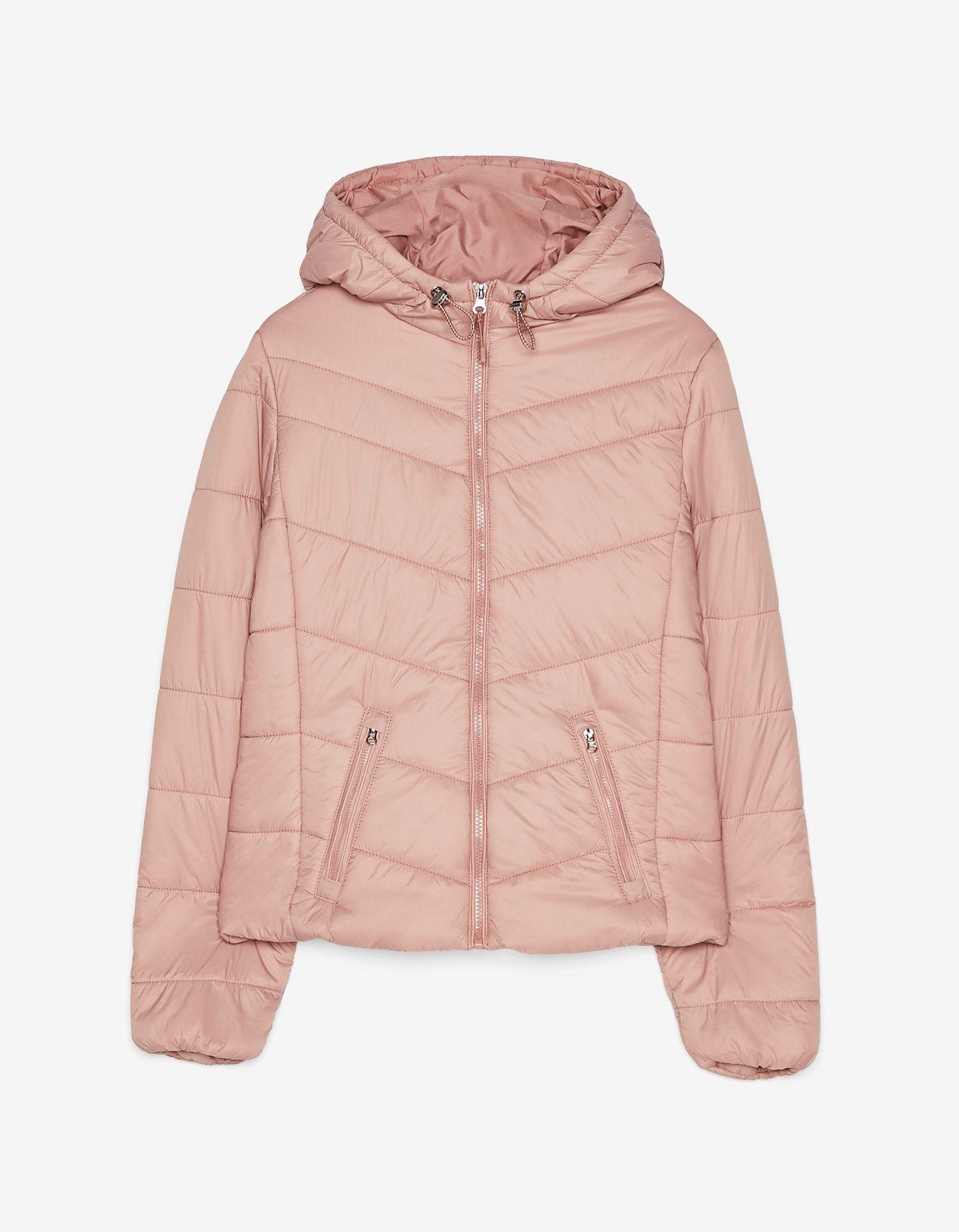 Стеганая куртка с капюшоном Розовый Bershka