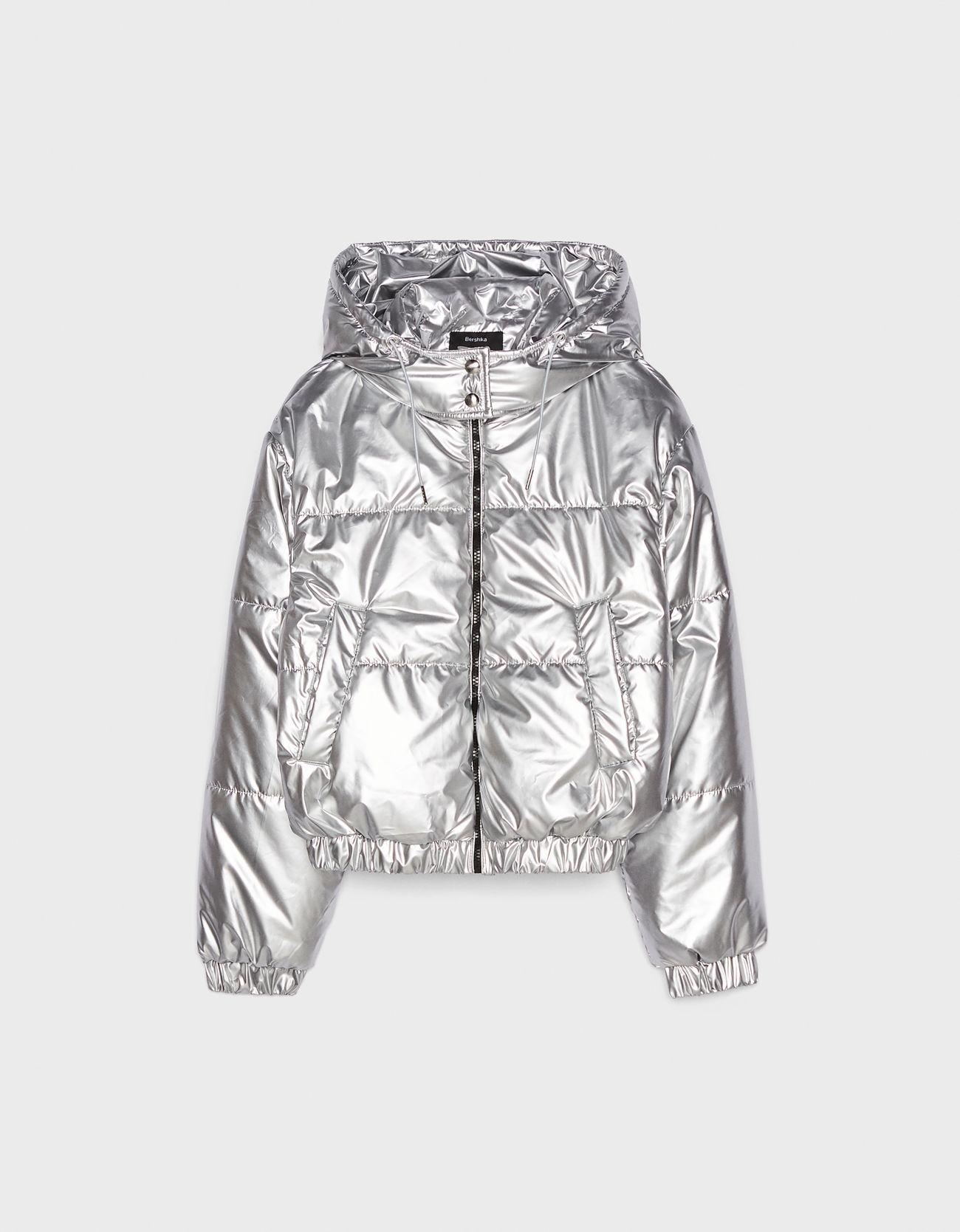 Стеганая куртка из сиреневой ткани СЕРЕБРЯНЫЙ Bershka