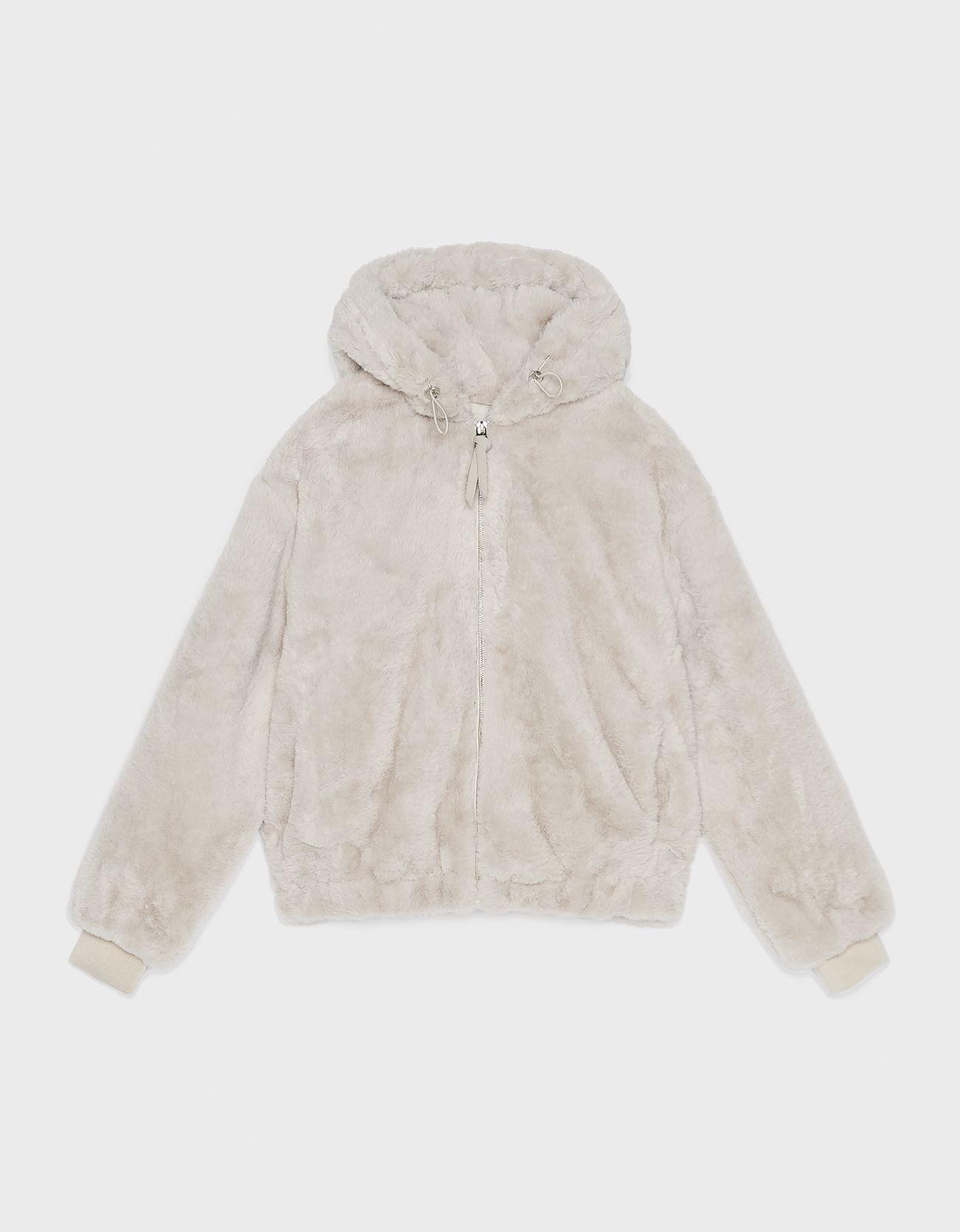 Куртка из искусственного меха с капюшоном Дымчатый Bershka