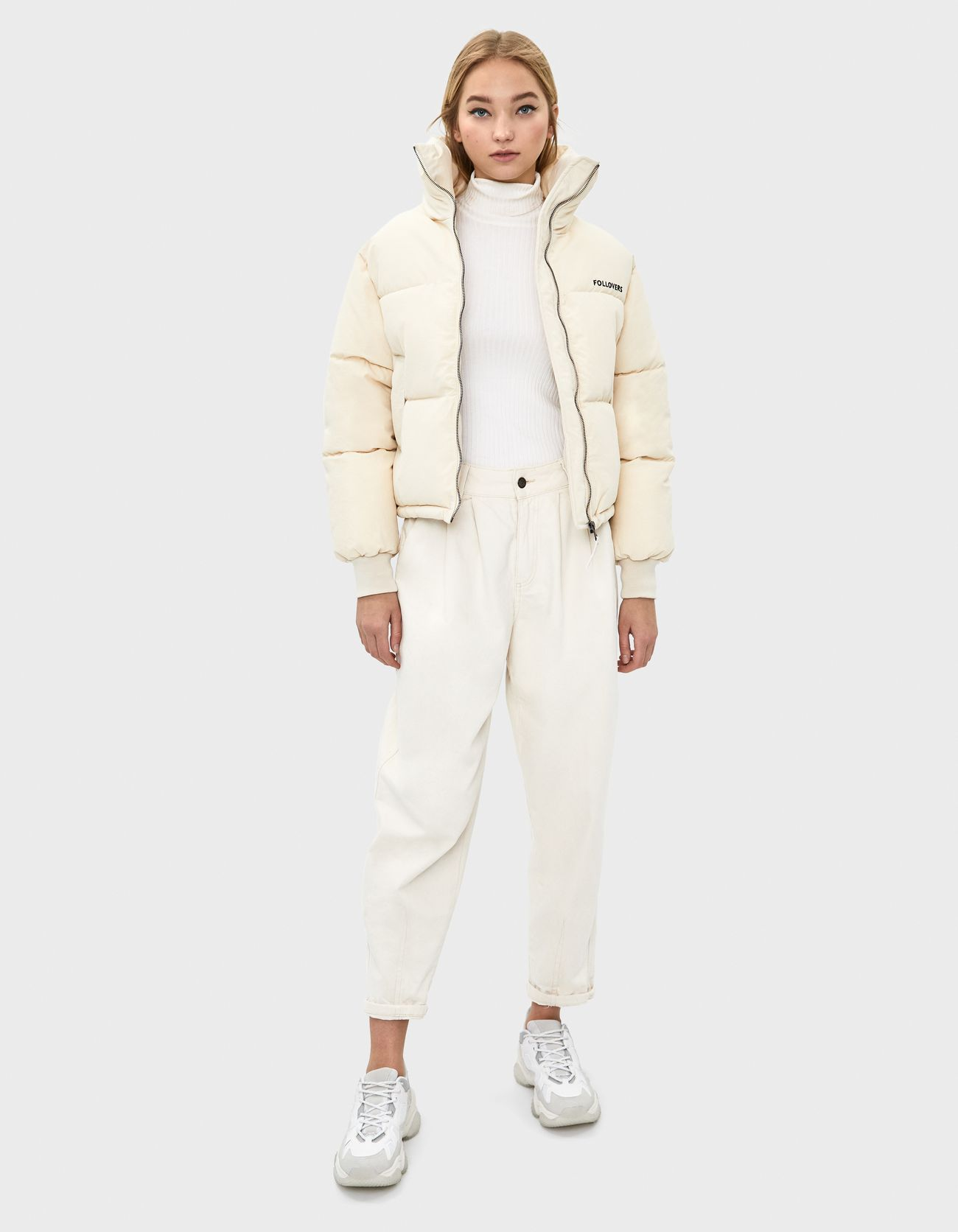 Стеганая куртка из нейлона Белый Bershka