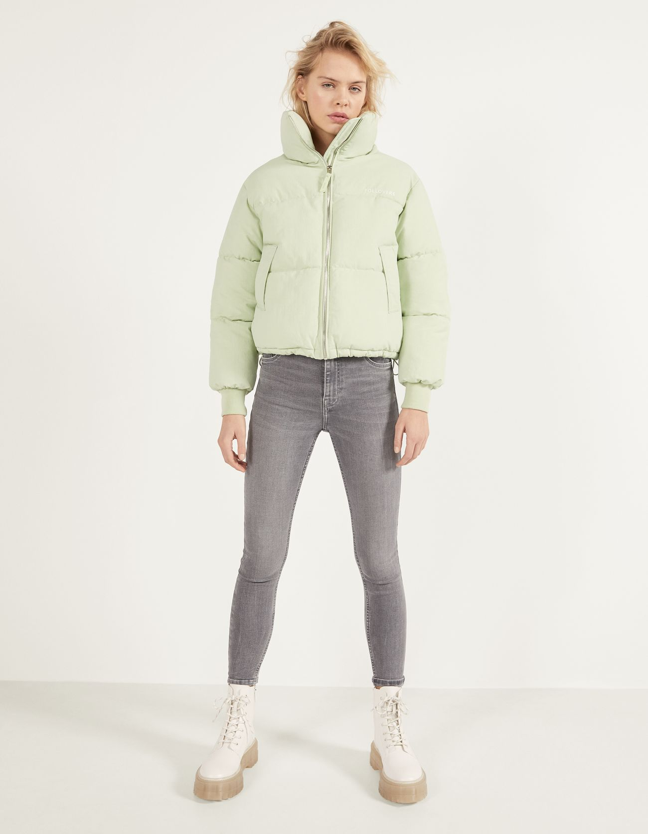 Стеганая куртка из нейлона Зеленый Bershka