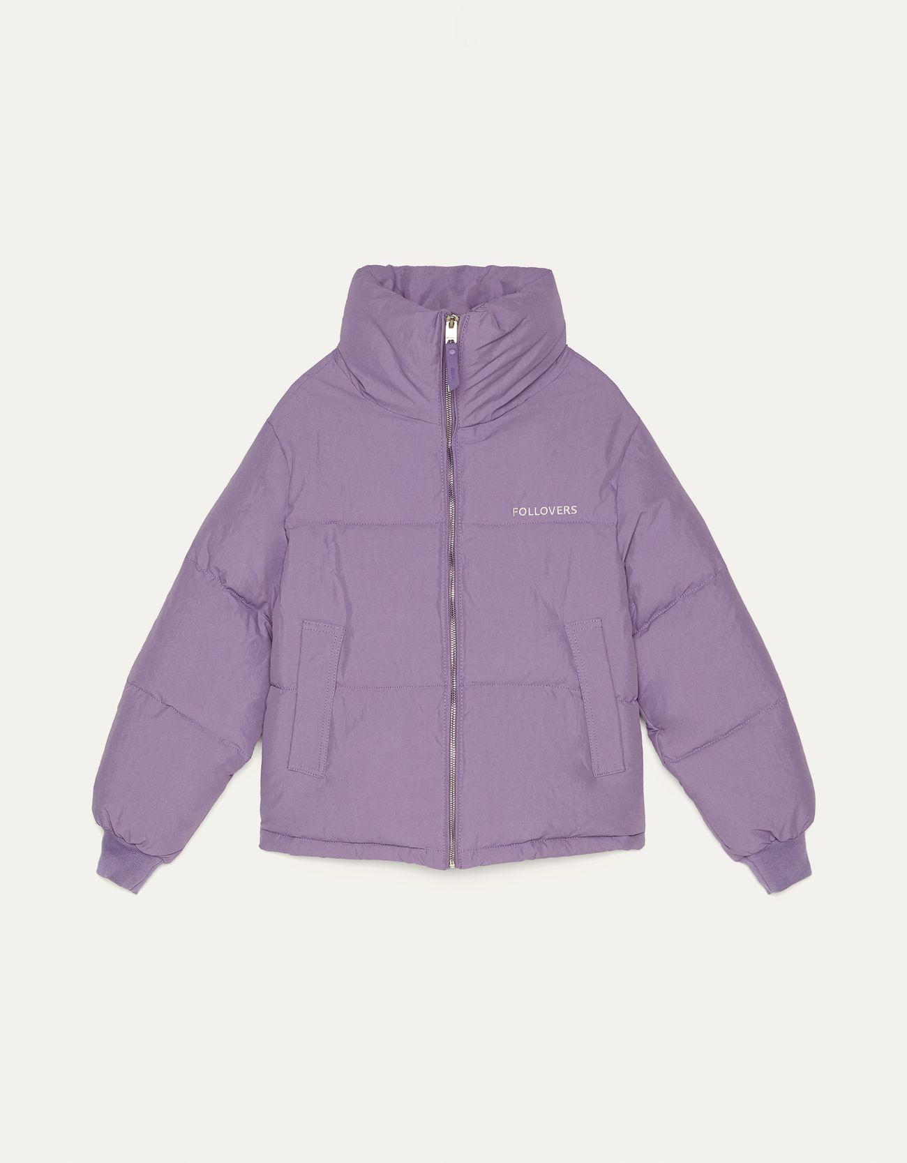 Стеганая куртка из нейлона Фиолетовый Bershka