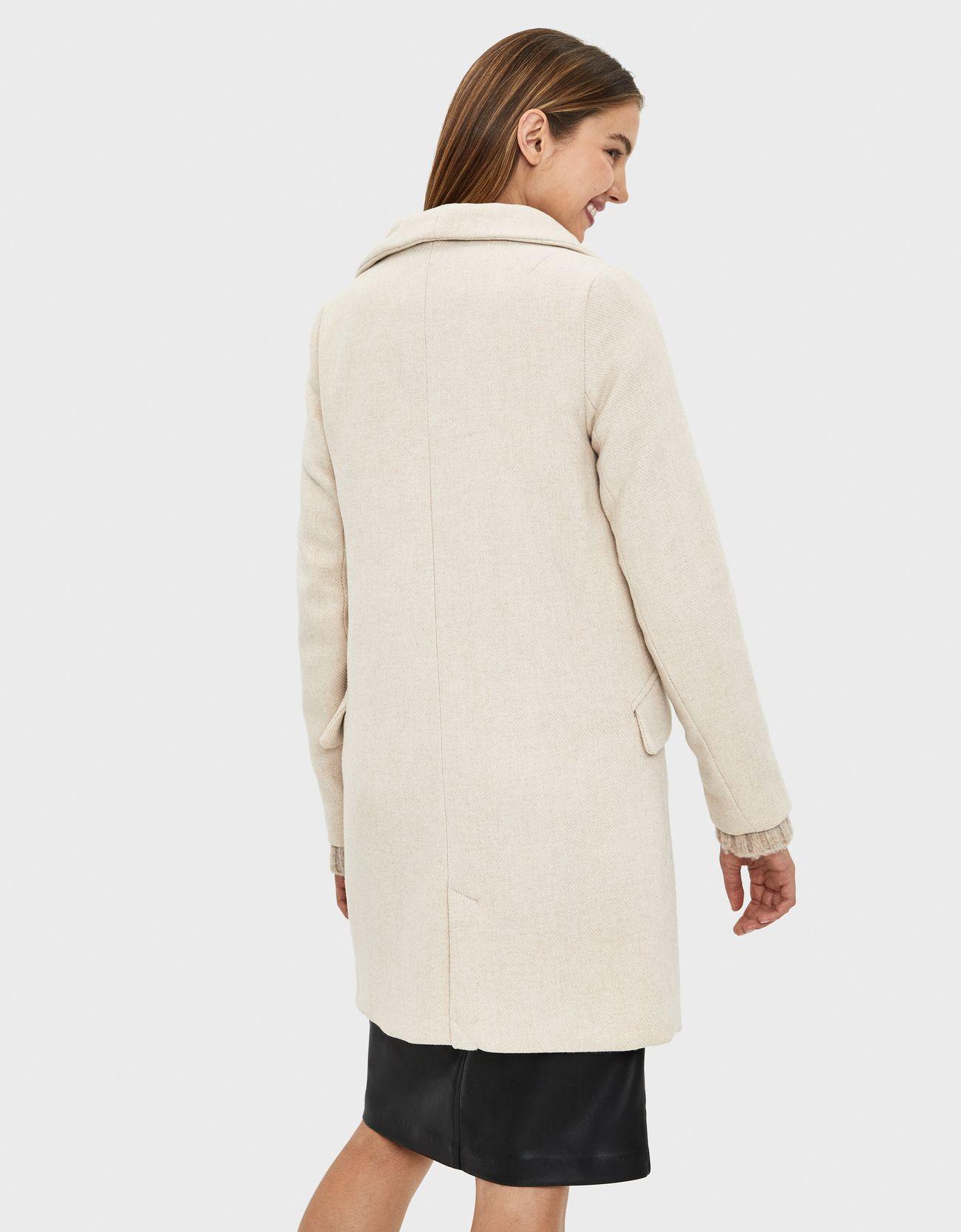 Шерстяное пальто с воротником-стойкой Песочный Bershka