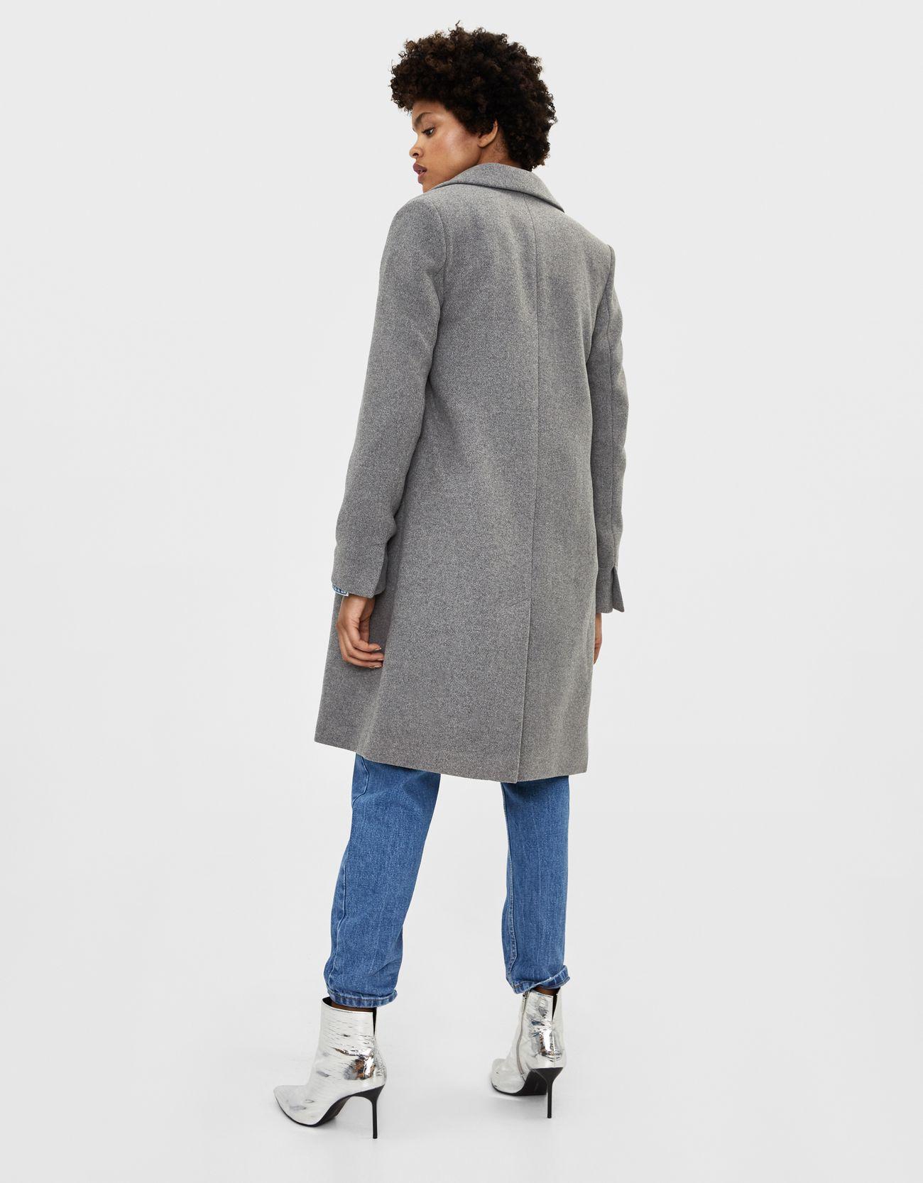 Шерстяное пальто СЕРЫЙ Bershka